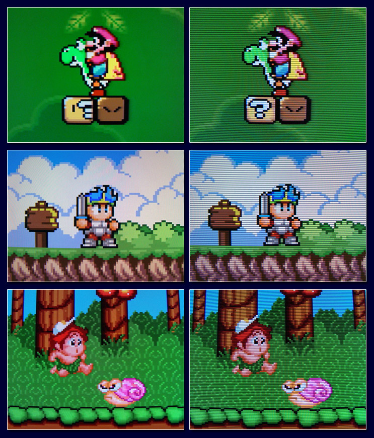 Scanlines on CRT - with and without